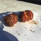 Cheddar cheese stuffed bacon wrapped Italian Sausage meatballs