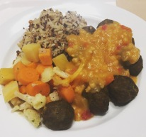 Veggie Meatballs, Rice, Quinoa, veggies, & curry at IKEA